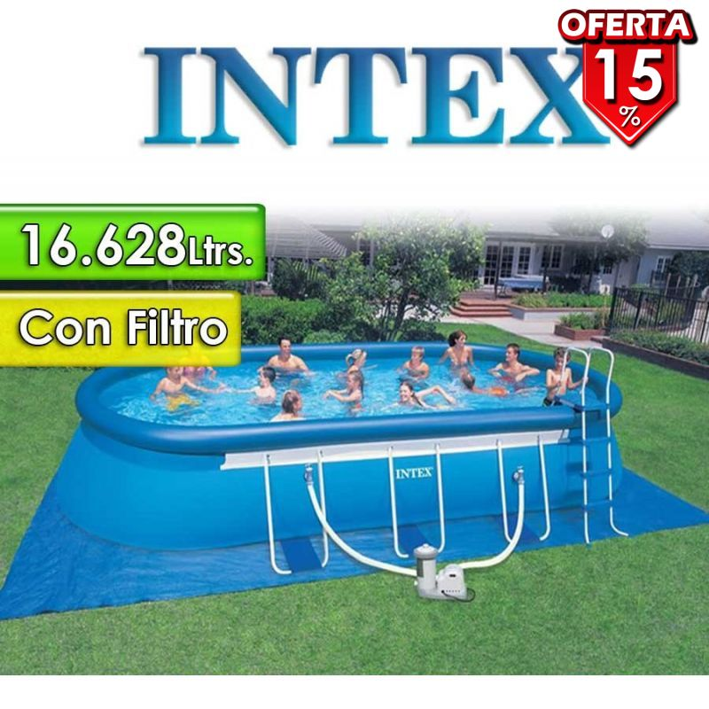 Piscina Intex - 16.628 Ltrs. - Ovalada - Con borde inflable +...