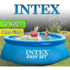 Piscina Intex - 2.420 Ltrs. - Redonda - Con borde inflable + Inflador - 28112