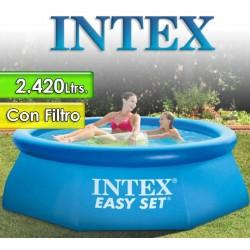 Piscina Intex - 28112 - 2.420 Ltrs. - Redonda - Con borde inflable + Inflador