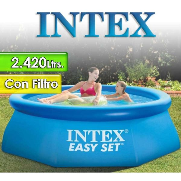Piscina Intex - 28112 - 2.420 Ltrs. - Redonda - Con borde inflable + Inflador