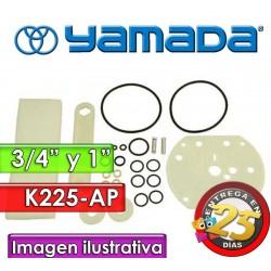 """Kit de reparo de motor neumatico - Yamada - K225-AP - para bombas NDP-20 y NDP-25 Plasticas de 3/4"""" y 1"""""""