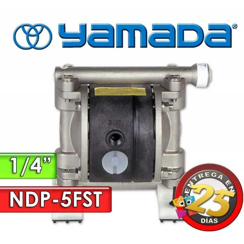 "Bomba Neumática Yamada - NDP-5FST - Diámetro 1/4"" - Cuerpo Inoxidable, Internos de PTFE"