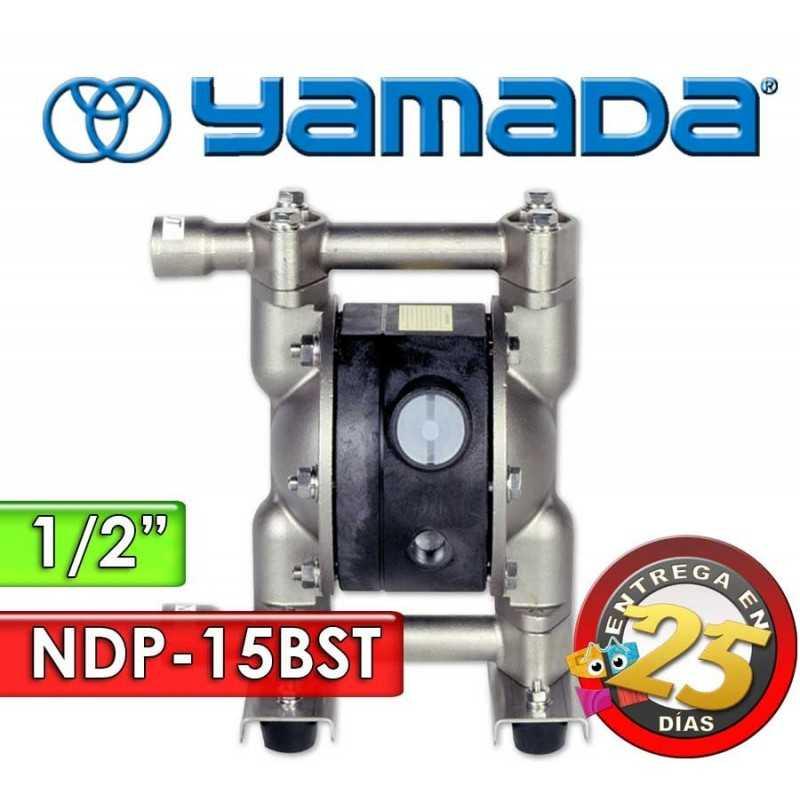 "Bomba Neumática Yamada - NDP-15BST - Diámetro 1/2"" - Cuerpo Inoxidable, Internos de PTFE"