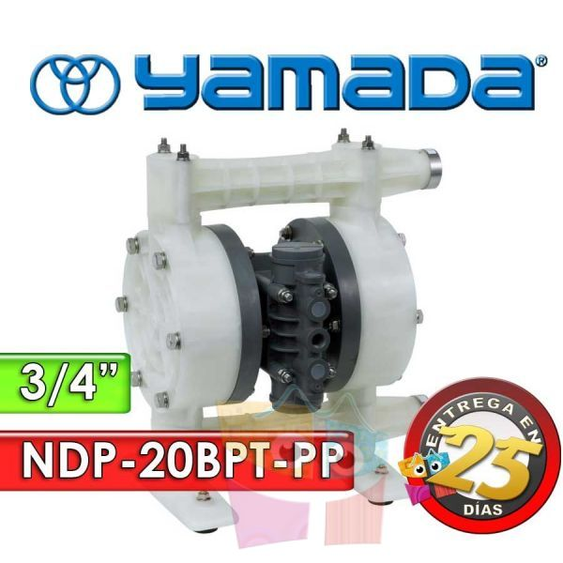 "Bomba Neumática Yamada - NDP-20BPT-PP - Diámetro 3/4"" - Cuerpo Polipropileno, Internos de PTFE"