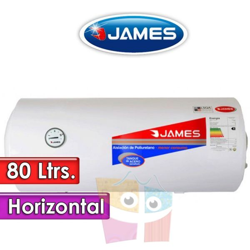 Termocalefón 80 Litros Horizontal - James - Tanque de Acero