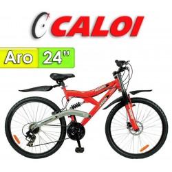 """Bici Aro 24"""" Profox - Caloi - Rojo - 18 Velocidades"""