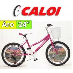 """Bici Aro 24"""" California - Caloi - Fucsia - 21 Velocidades"""