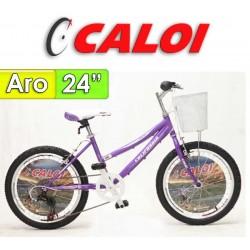 """Bici Aro 24"""" California - Caloi - Lila - 21 Velocidades"""
