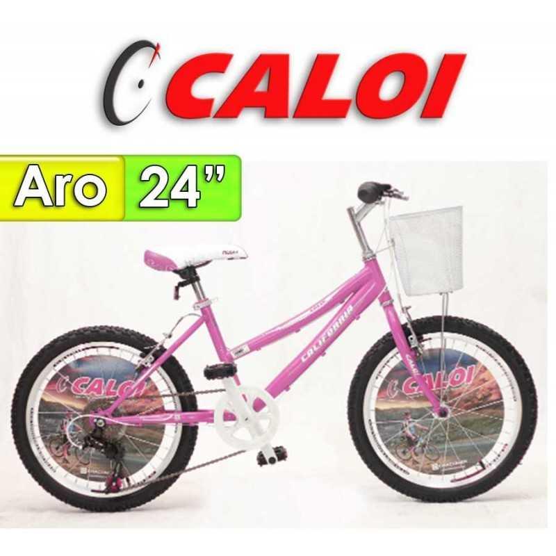 """Bici Aro 24"""" California - Caloi - Rosada - 21 Velocidades"""