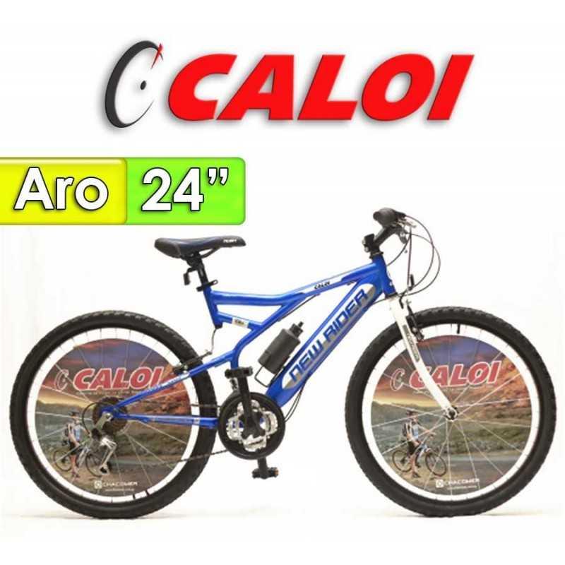 """Bici Aro 24"""" New Rider - Caloi - Azul - 18 Velocidades"""
