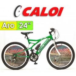 """Bici Aro 24"""" New Rider - Caloi - Verde - 18 Velocidades"""