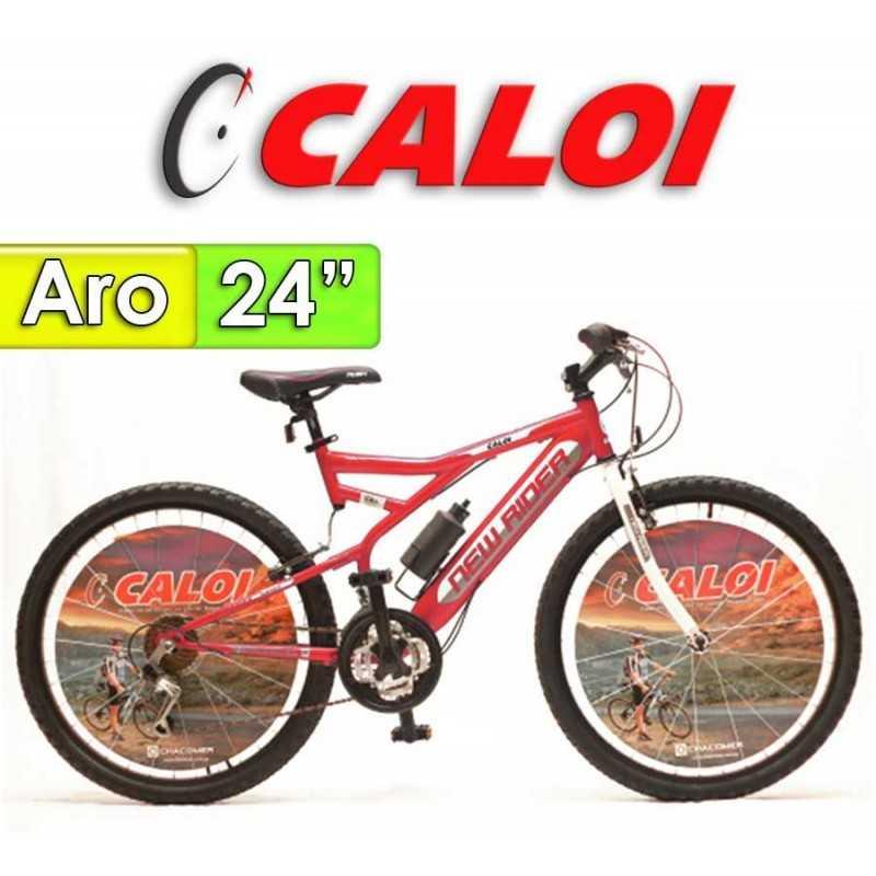 """Bici Aro 24"""" New Rider - Caloi - Rojo - 18 Velocidades"""