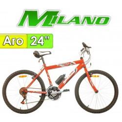 """Bici Aro 24"""" Action Caballero - Milano - Rojo - 18 Velocidades"""
