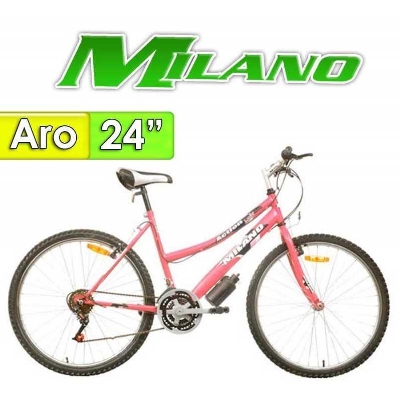 "Bici Aro 24"" New Action Dama - Milano - Fucsia - 18 Velocidades"
