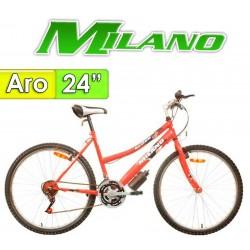 "Bici Aro 24"" Action Dama - Milano - Rojo - 18 Velocidades"