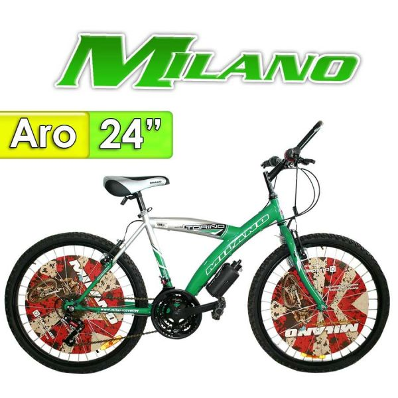 "Bici Aro 24"" Torino - Milano - Verde - 18 Velocidades"