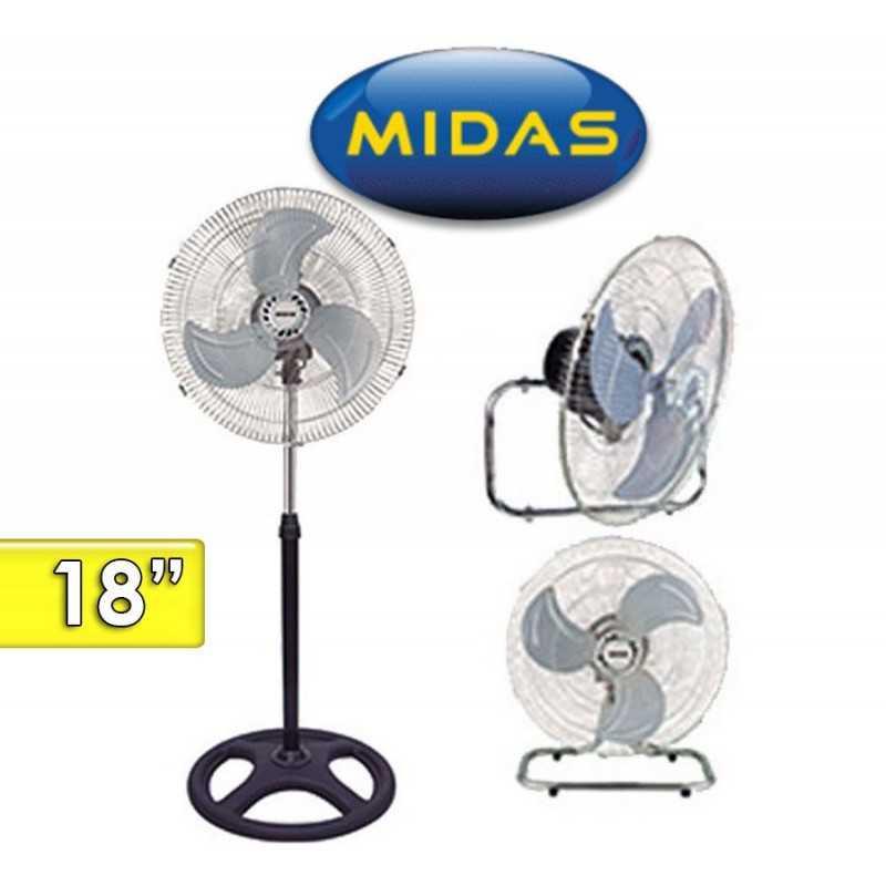 Ventilador 3 en 1, Pie, Piso y Pared - Midas - W-FF1803