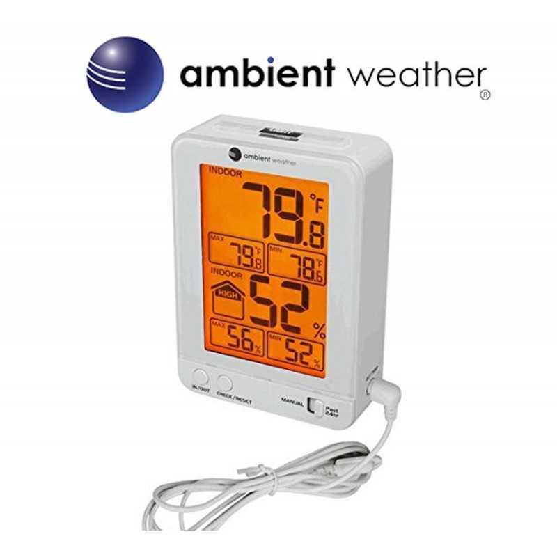 Termohigrometro - Ambient Weather - Con temperatura y humedad interior y sonda de temperatura