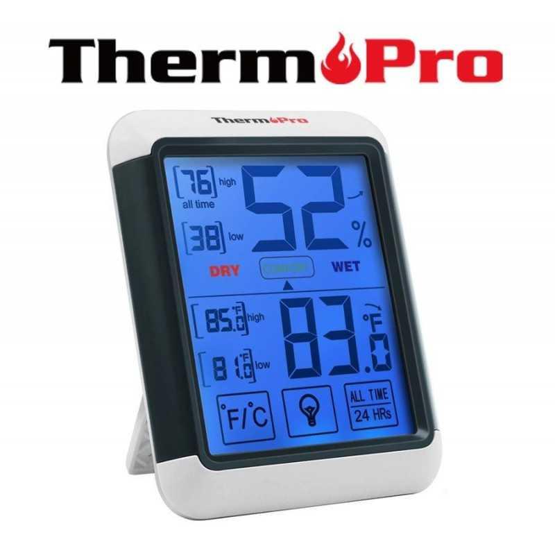 Termohigrometro con pantalla tactil - ThermoPro - temperatura y humedad interior