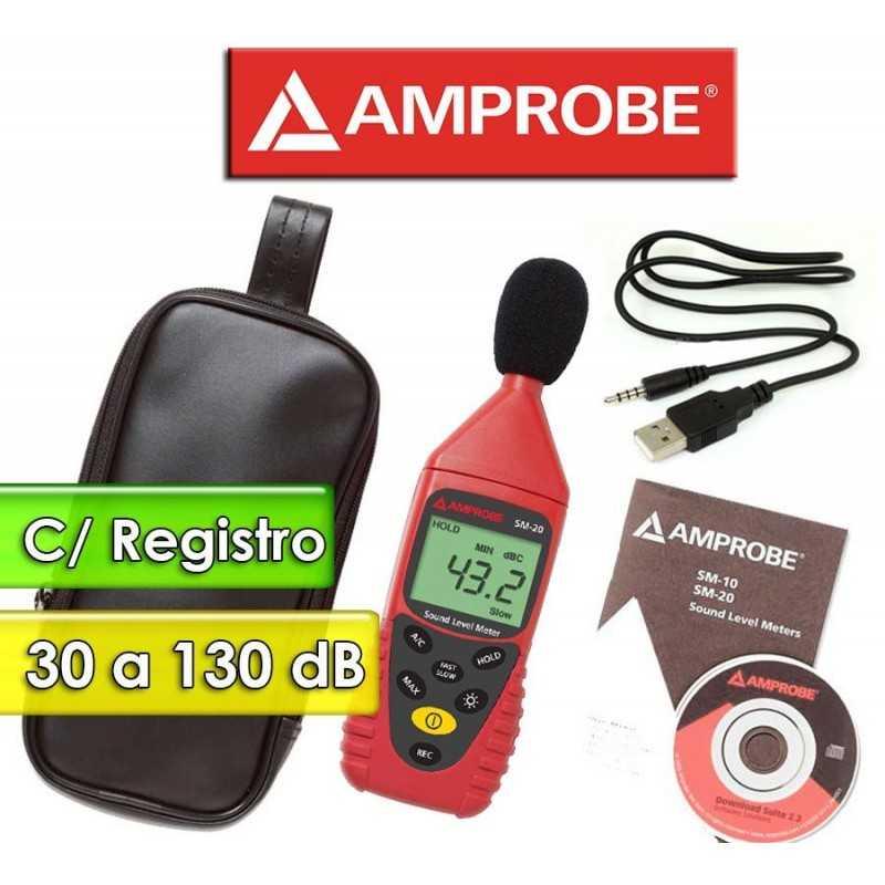 Decibelimetro con registro y conexión a PC - Amprobe - SM-20-A