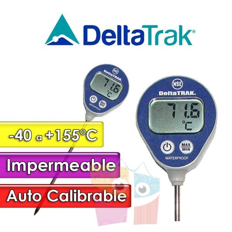 Termómetro Pincha Carne a Prueba de Agua - DeltaTrak - Escala -40°C a 155°C - Con calibrado automático