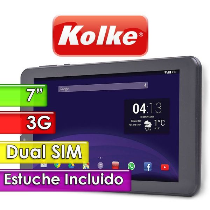 "Tablet 7"" Dual SIM 3G - Kolke - LINK II KTG-163 con Estuche"