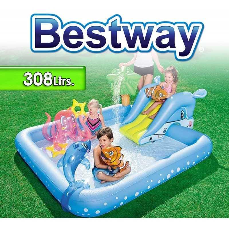 Piscina Infantil - 308 Ltr - 2,39 x 2,06 x H. 0,86 Mtr - Bestway - Acuario Fantástico - 53052 + Inflador