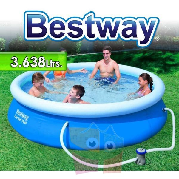 Piscina bestway ltrs redonda con borde for Piscina inflable bestway