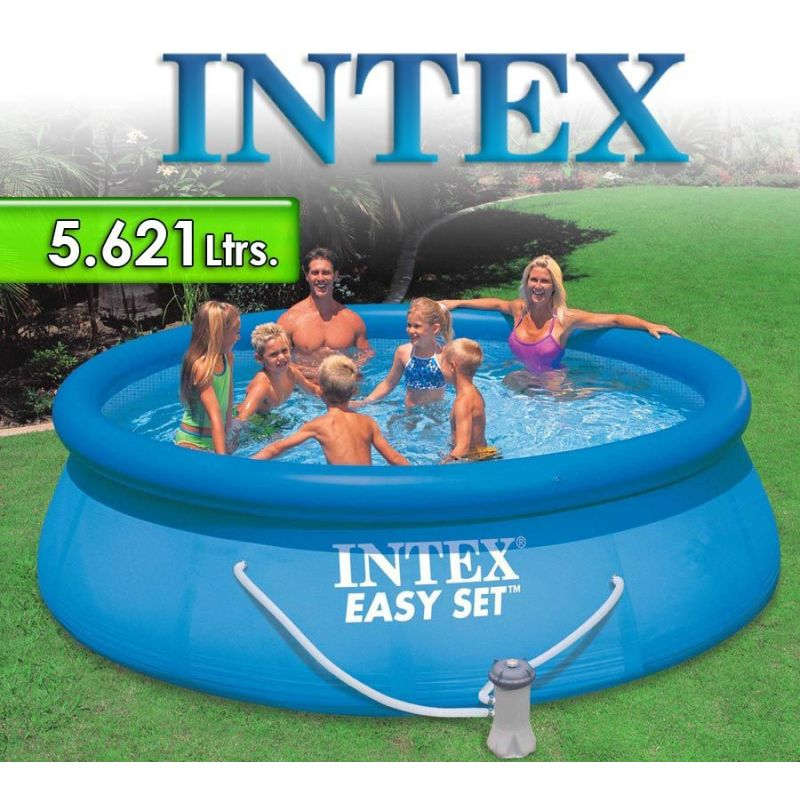 Piscina intex ltrs redonda con borde inflable for Piscina inflable intex