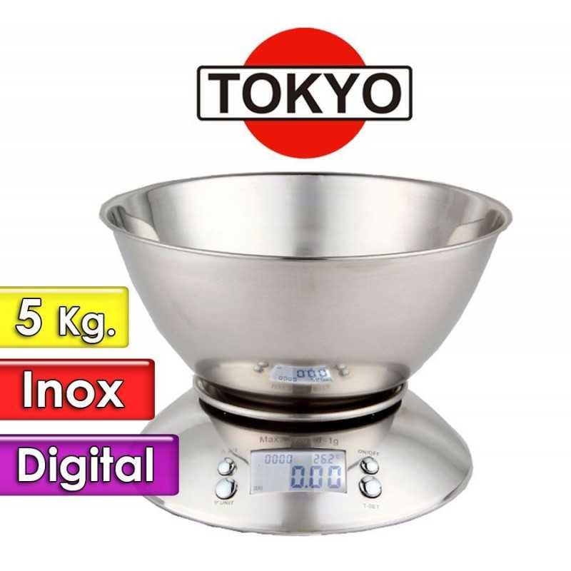 Balanza de Cocina 5 Kgs. Total Inox - Tokyo - EDTBTOKINOX - con bol de 1,7 litros