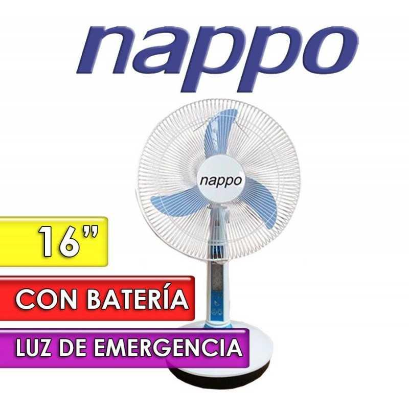 Ventilador de Mesa con Bateria Recargable y Luz de Emergencia - Nappo - NV417 - 16 Pulgadas