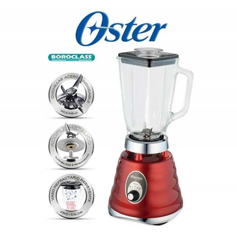 Licuadora clásica de 3 velocidades Roja Cromada - Oster - 004126-053-000