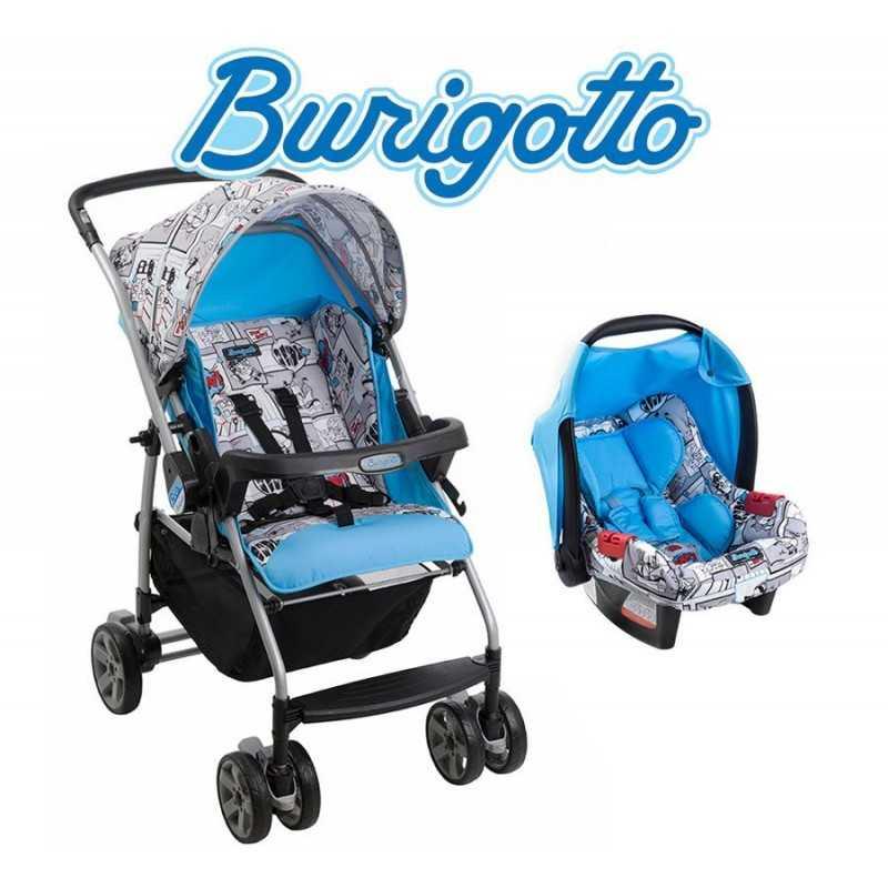Carrito de bebé Rio K Cartoon Celeste + Baby Seat Touring Evolution - Burigotto - IXCJ4016PR48