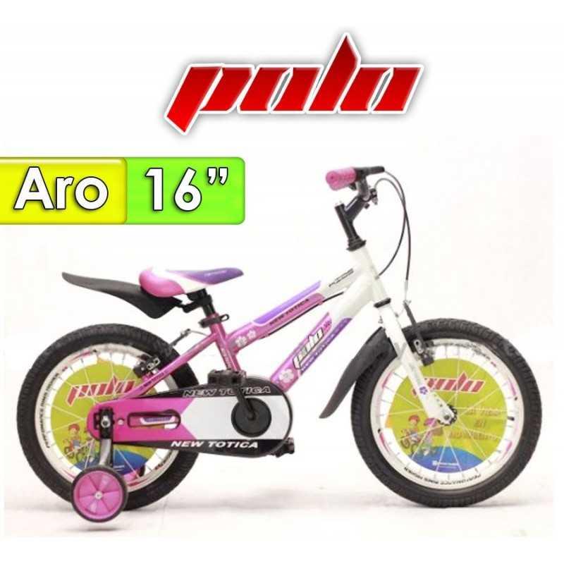 """Bici Aro 16"""" New Totica - Polo - Fucsia"""