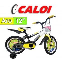 """Bici Aro 12"""" X-Cross - Caloi - Negro con Amarillo"""