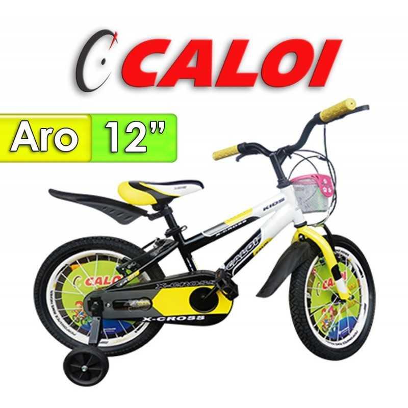 """Bici Aro 12"""" X Cross - Caloi - Negro con Amarillo"""