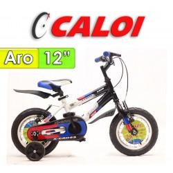"""Bici Aro 12"""" X-Cross - Caloi - Negro con Azul"""