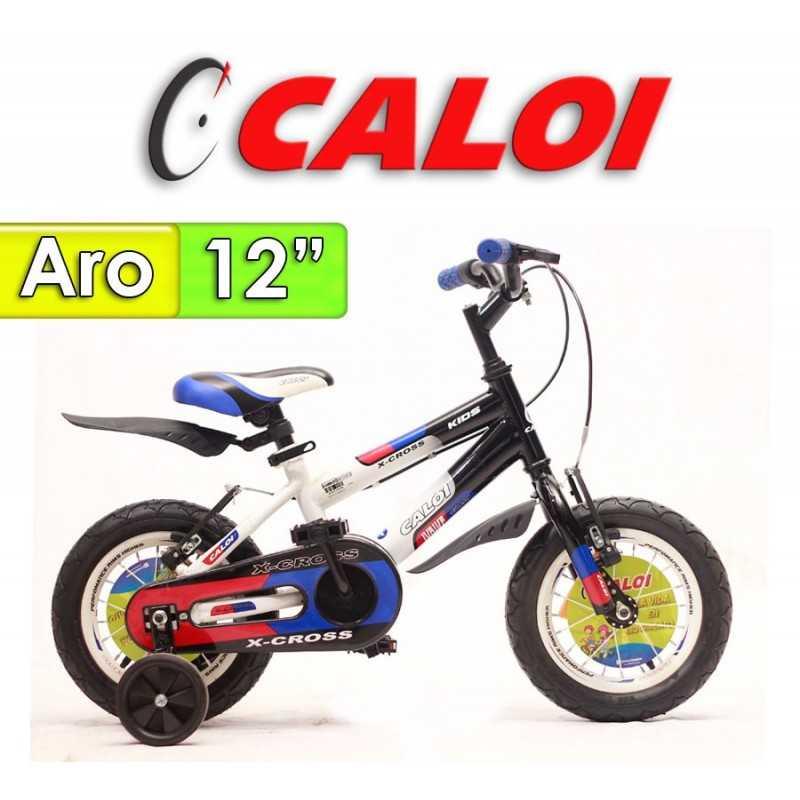 """Bici Aro 12"""" X Cross - Caloi - Negro con Azul"""