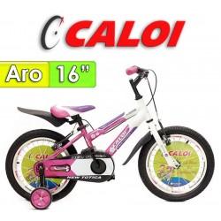 """Bici Aro 16"""" New Totica - Caloi - Fucsia"""