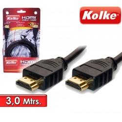 Cable HDMI de 3,0 Mtrs para Audio y Video - Kolke