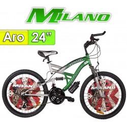 "Bici Aro 24"" Explorer con Suspension - Milano - Verde - 18 Velocidades"