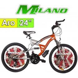 "Bici Aro 24"" Explorer con Suspension - Milano - Roja - 18 Velocidades"