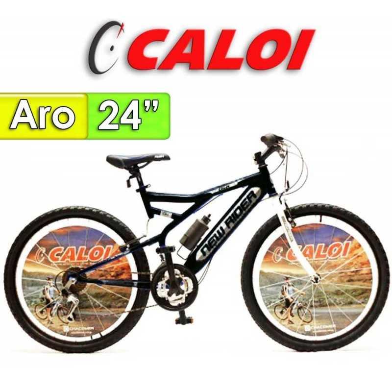 """Bici Aro 24"""" New Rider - Caloi - Negra - 18 Velocidades"""