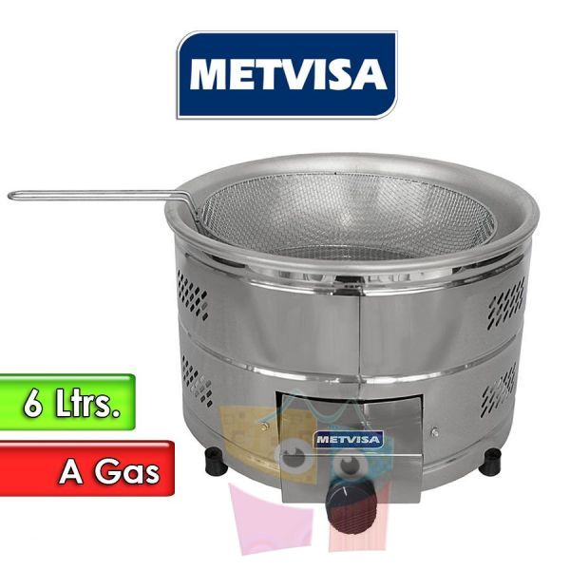 Freidora a Gas de tacho redondo de 6 Litros - Metvisa - TFG 6