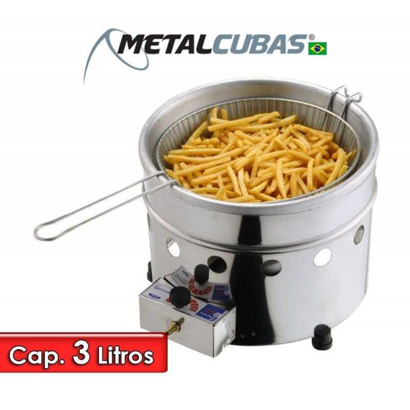 Freidora a Gas de tacho redondo de 3 Litros - Metalcubas - TFRG-3