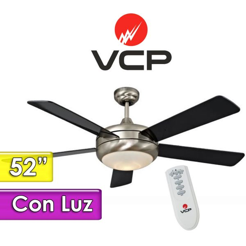 """Ventilador de Techo de 52""""  Con Luz - VCP - Arder Madera y Cromo  VC052215"""